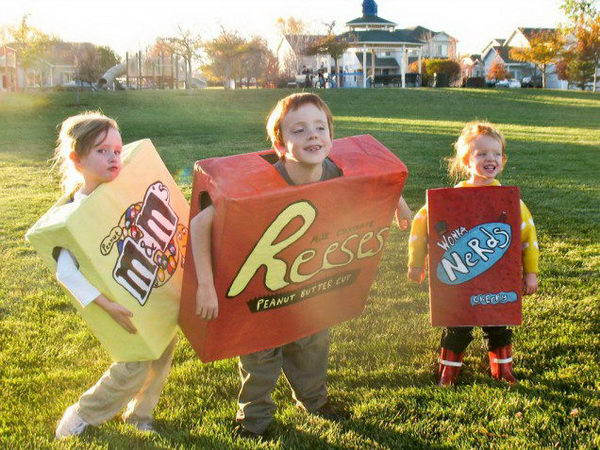 36 boxes of candy kid costume
