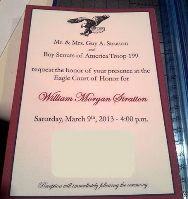 5 rustic red eagle scout invitation card