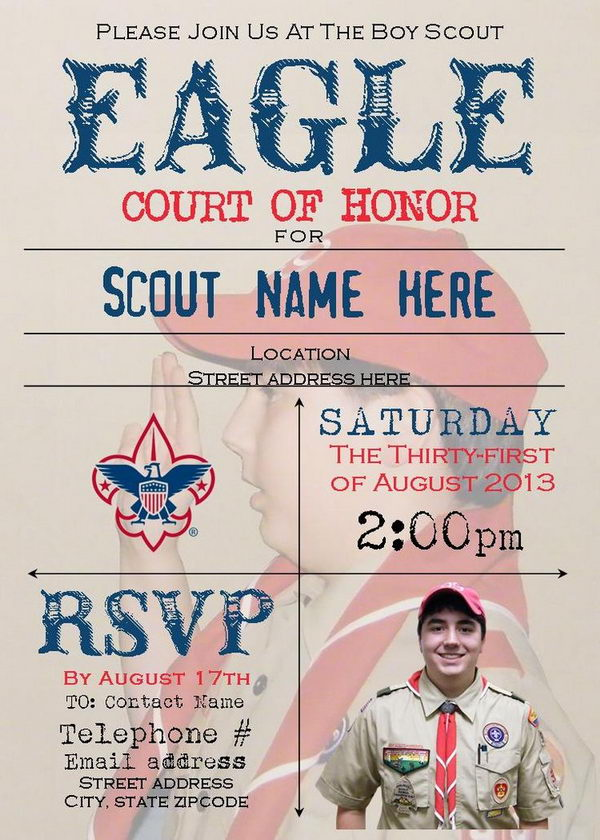 7 court of honor invitation faded background