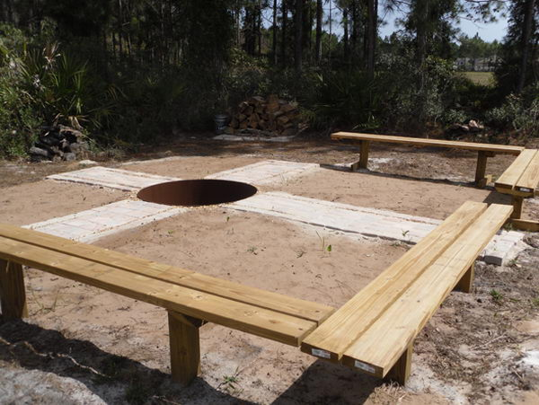 13 in ground fire pit with pavers surrounding