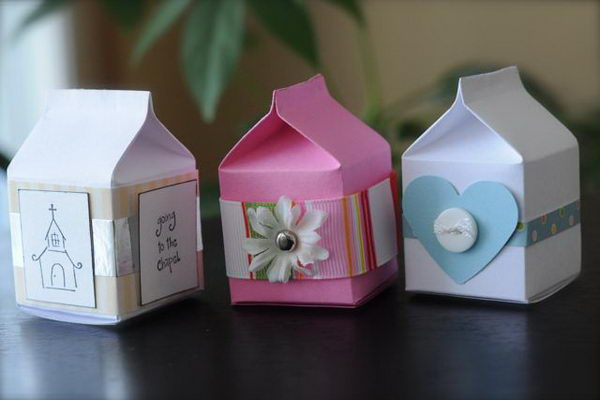 3 tiny milk carton favor boxes