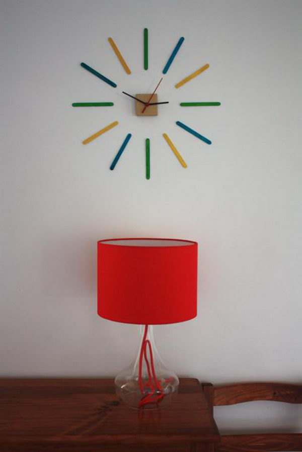 16 homemade stick clock craft