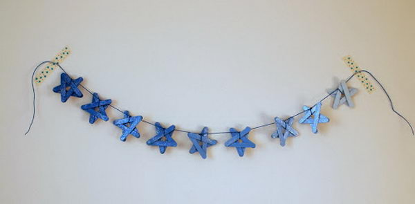 45 star garland on wall