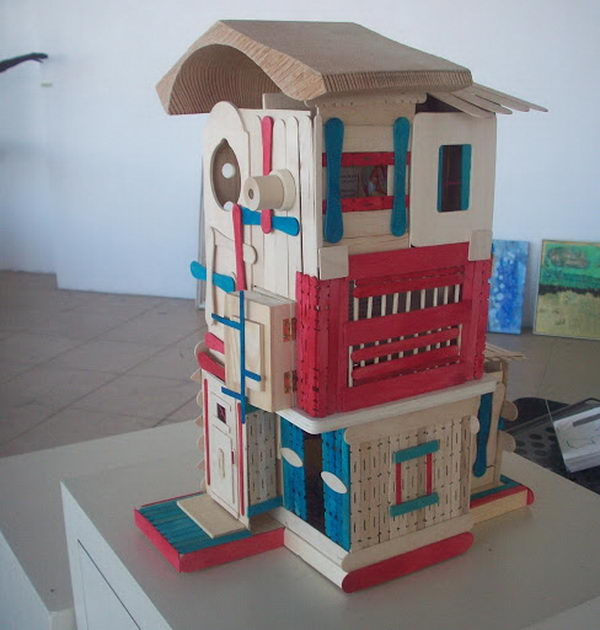 11 colorful popsicle stick house
