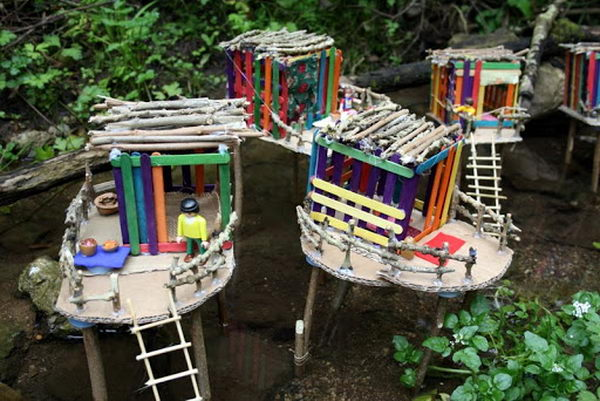 5 popsicle stick village house