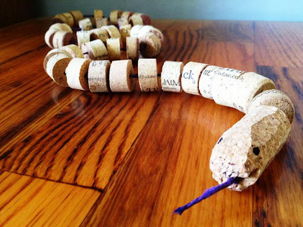 3 homemade wine cork snake craft