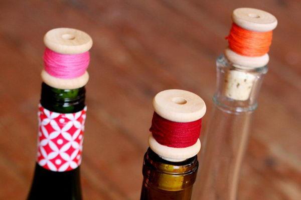 38 diy wine cork thread spool