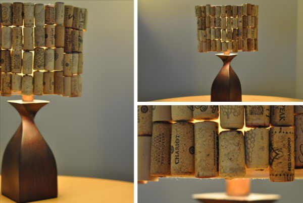 40 homemade wine cork lampshade