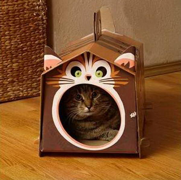DIY Cardboard Cat Houses,