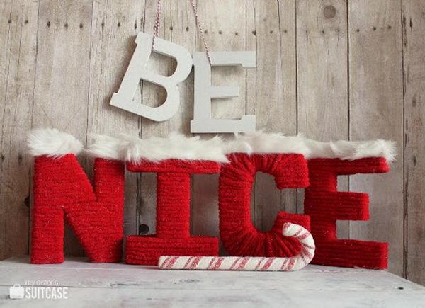 Santa Yarn Cardboard Letters