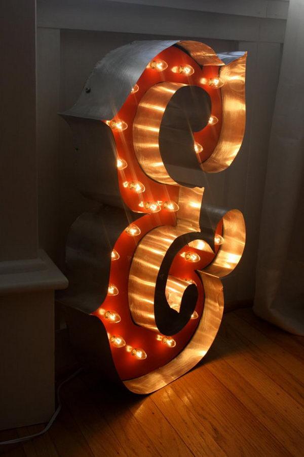 Large Cardboard Letter Light,