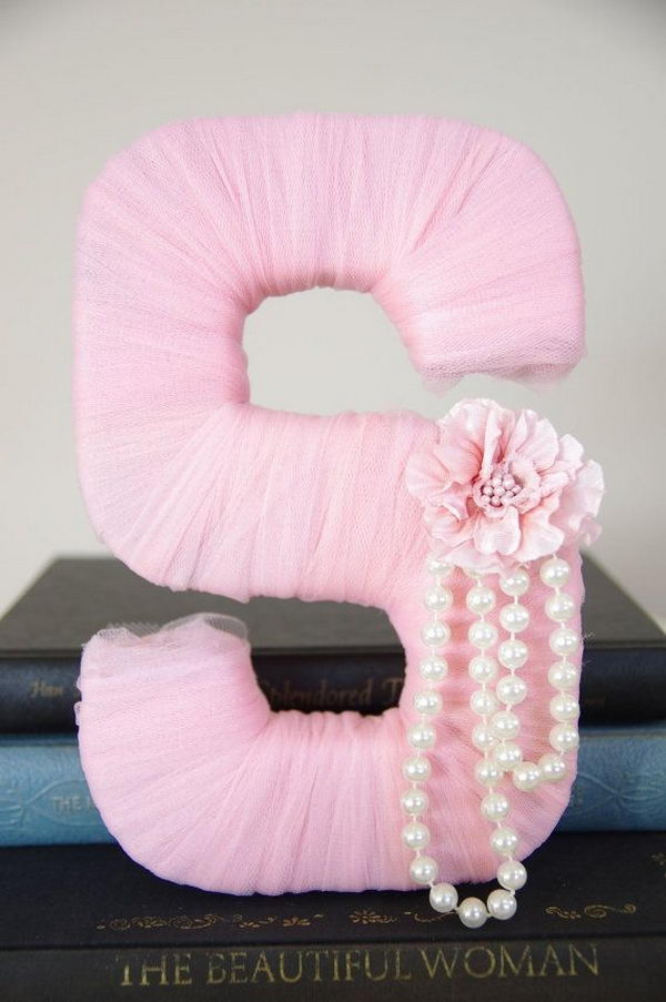 Tulle Wrapped Letter for Girl,