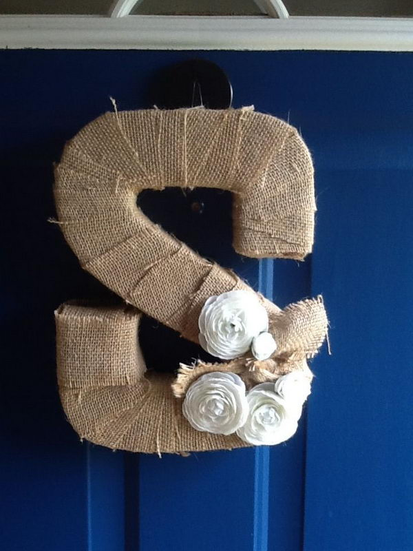 Cardboard Letter Wrapped with Burlap,