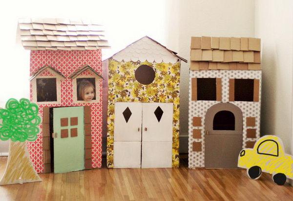 8 homemade cardboard playhouses