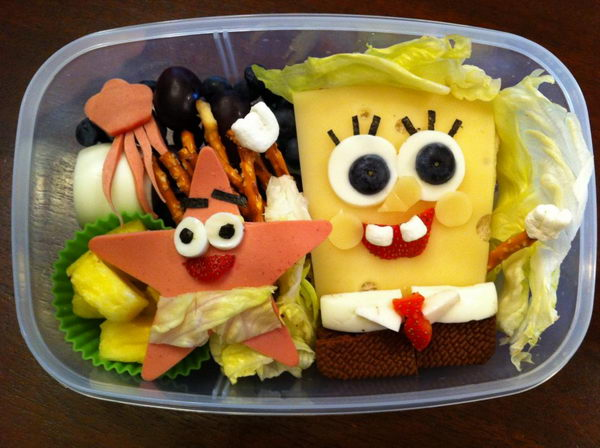 3 sponge bob square pants lunch