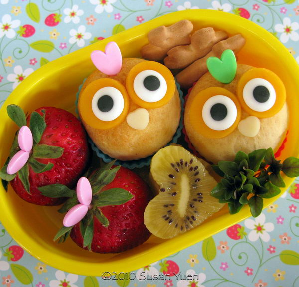 40 mini owl biscuits snack bento