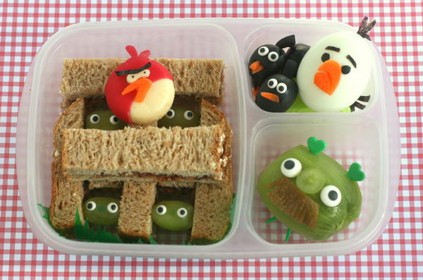6 angry birds bento box lunch