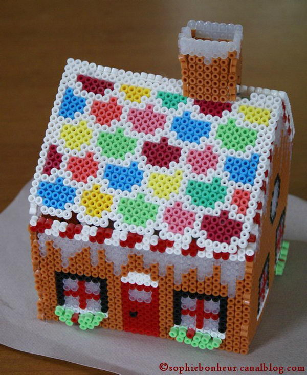 22 3d house perler beads