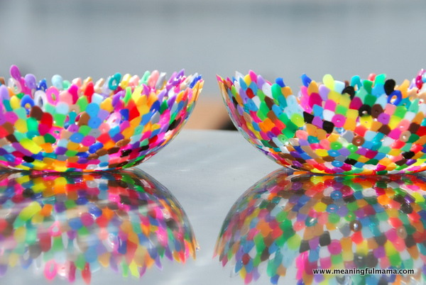 3 plastic perler bead bowls
