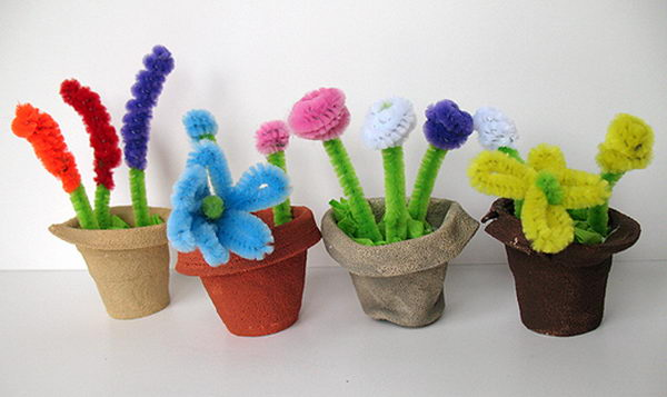 3 styrofoam cup spring flower pots