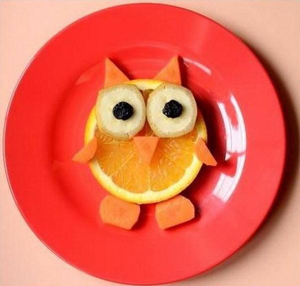 Food Arranged Like an Owl,