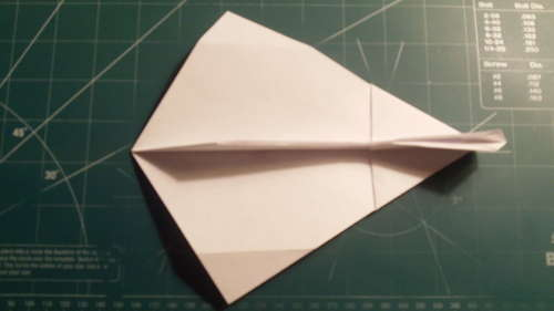 The Raven paper airplane is a fast, stable dart that can easily cruise the classroom. With 5 points to sit upon at rest. It is a very cool looking plane as well, with its ventral canard fins and dagger shape.