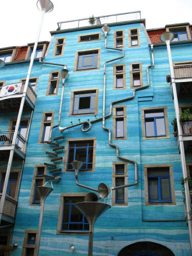 Rube Goldberg Rain Drainage System, Check out this crazy-cool drainage system on an apartment building in Dresden, Germany.