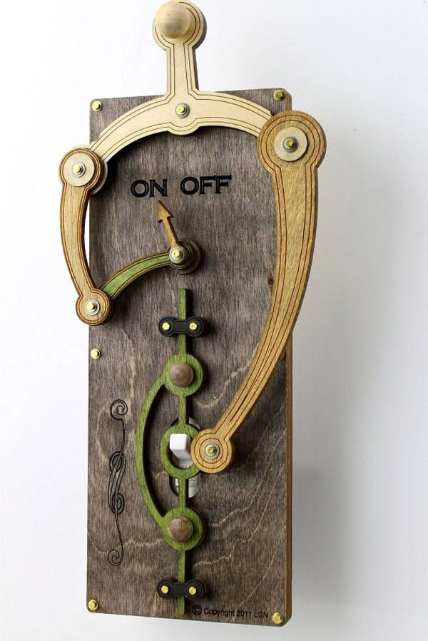 Rube Goldbergian Light Switch Cover, GreenTreeJewelry makes these whimsical, rube goldbergian light-switch covers that let you toggle the switch by means of a delightfully superfluous mechanism.