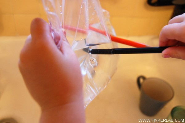 Magical Plastic Bag Experiment for Kids. When the sharp pencil pokes through the bag, the stretchy plastic hugs around the pencil, creating a watertight seal around the pencil…and the bag doesn't leak.