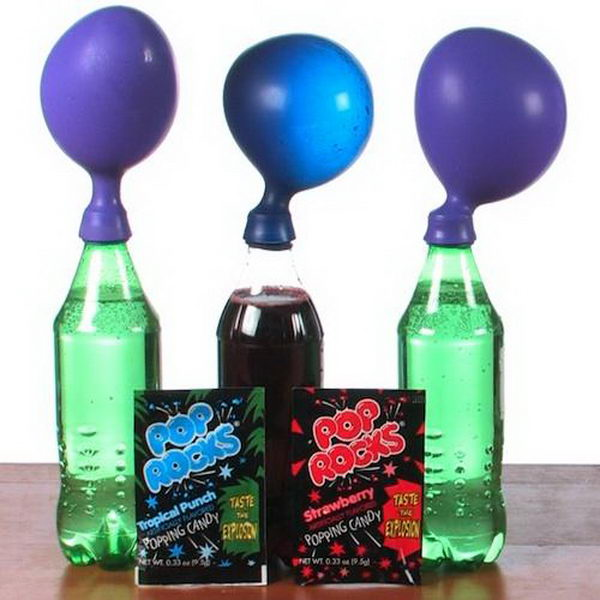 Pop Rocks Expander Science Project for Kids. Each of Pop Rocks candy pebbles contains a small amount of pressurized carbon dioxide gas.
