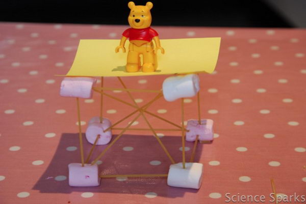 Fun With Structures for Kids. Push the ends of the spaghetti into the marshmallows to build different shapes for your tower. Put weight on it to see if this structure is stable.