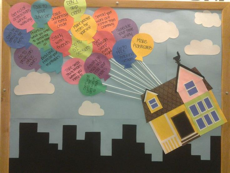 UP Themed Bulletin Board. You could write down study tips or anything else on the balloons.