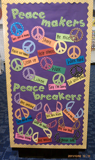 Peacemakers & Peacebreakers. It would look great on a classroom door or a large cabinet door as a gentle reminder to students about what kind of behavior you expect in your classroom.