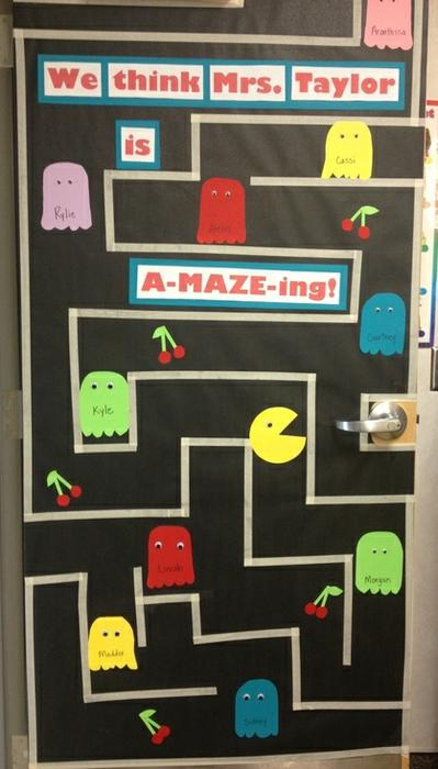 We Think You Are A-MAZE-ing. Want to let your teacher friends know what an a-MAZE-ing job they're doing? This Pac Man themed bulletin board created by Erica Bowman offers a fun, colorful way to show your appreciation!