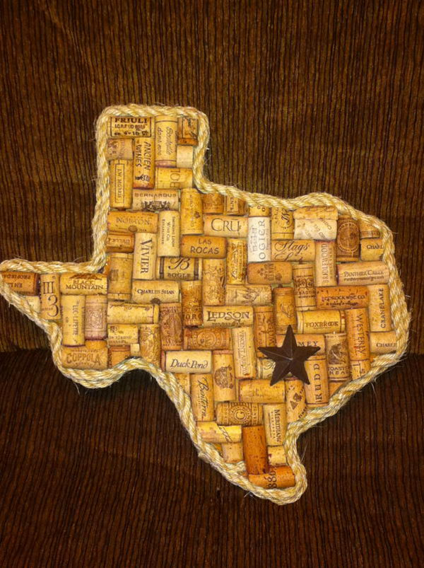The Texas shaped wine cork board is cool.
