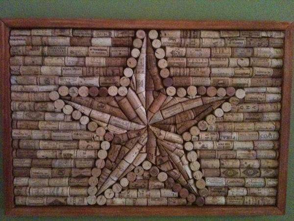 It would be cool to hang this five pointed star wine cork board on wall.