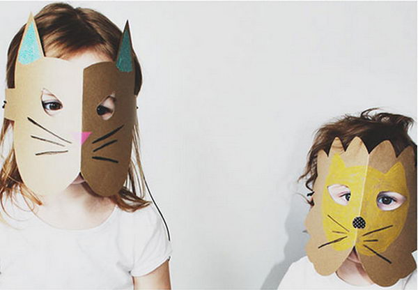 DIY Paper Card Stock Animal Masks. DIY Halloween Mask Crafts for Kids, which are embellished in rich colors and fine design. They are perfect props for Halloween pretend play which fosters imagination and creativity in children.
