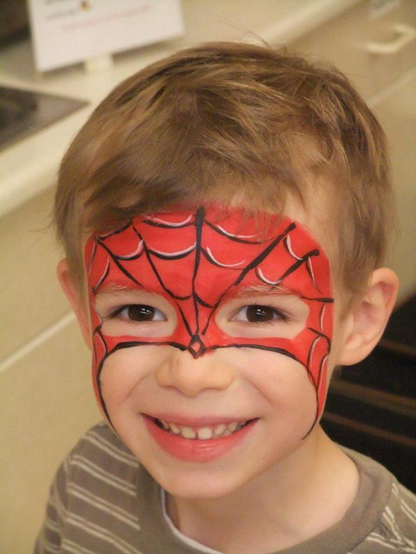 Spiderman Face Paint. Cool Face Painting Ideas For Kids, which transform the faces of little ones without requiring professional-quality painting skills.