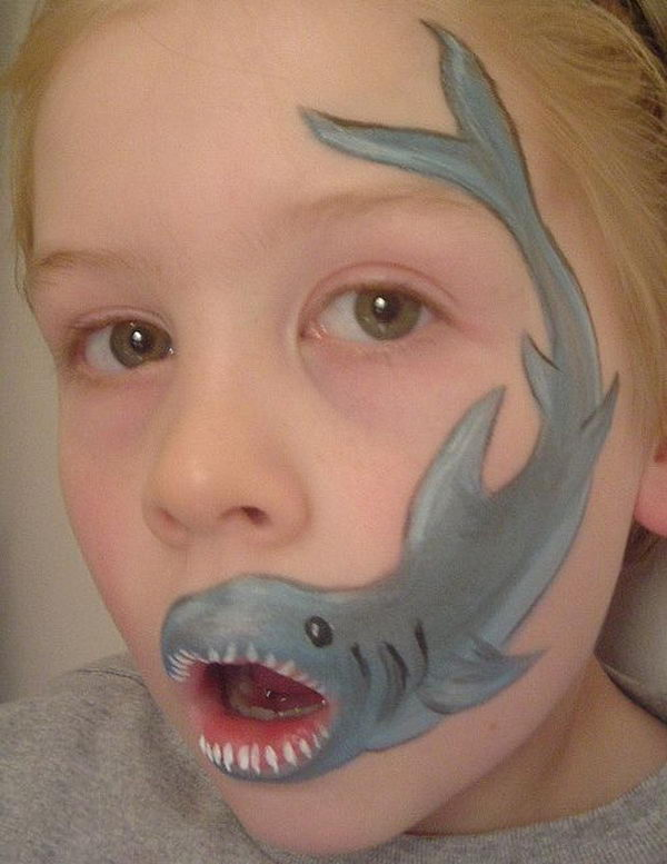Shark. Cool Face Painting Ideas For Kids, which transform the faces of little ones without requiring professional-quality painting skills.