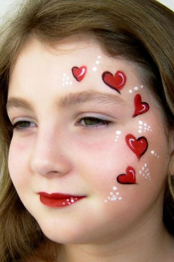 Red Heart Face Painting. Cool Face Painting Ideas For Kids, which transform the faces of little ones without requiring professional-quality painting skills.