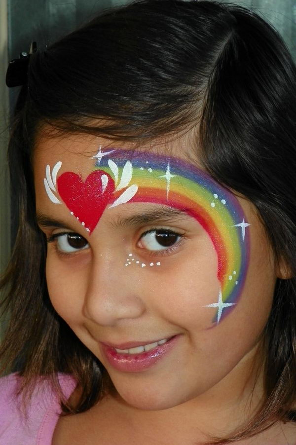 Rainbow. Cool Face Painting Ideas For Kids, which transform the faces of little ones without requiring professional-quality painting skills.