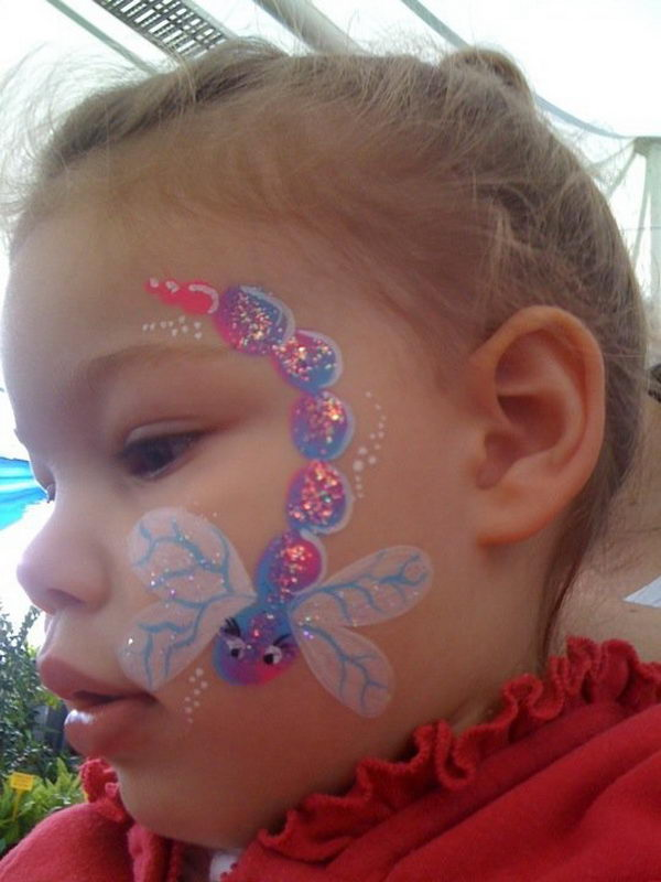 DIY Dragonfly Face Paint. Cool Face Painting Ideas For Kids, which transform the faces of little ones without requiring professional-quality painting skills.