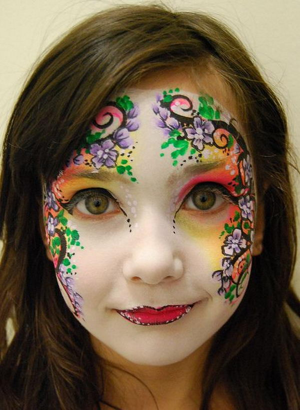Flower Face Paint. Cool Face Painting Ideas For Kids, which transform the faces of little ones without requiring professional-quality painting skills.