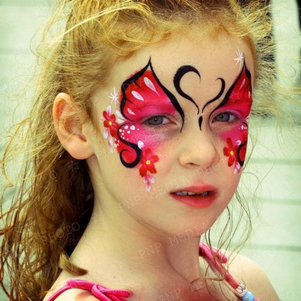 Red Butterfly. Cool Face Painting Ideas For Kids, which transform the faces of little ones without requiring professional-quality painting skills.
