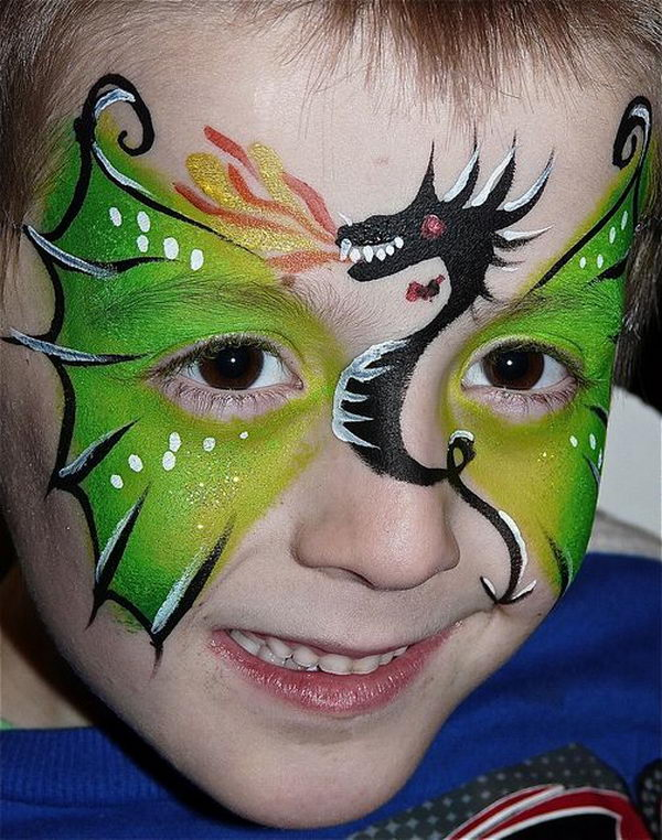 Dragon Face Painting. Cool Face Painting Ideas For Kids, which transform the faces of little ones without requiring professional-quality painting skills.