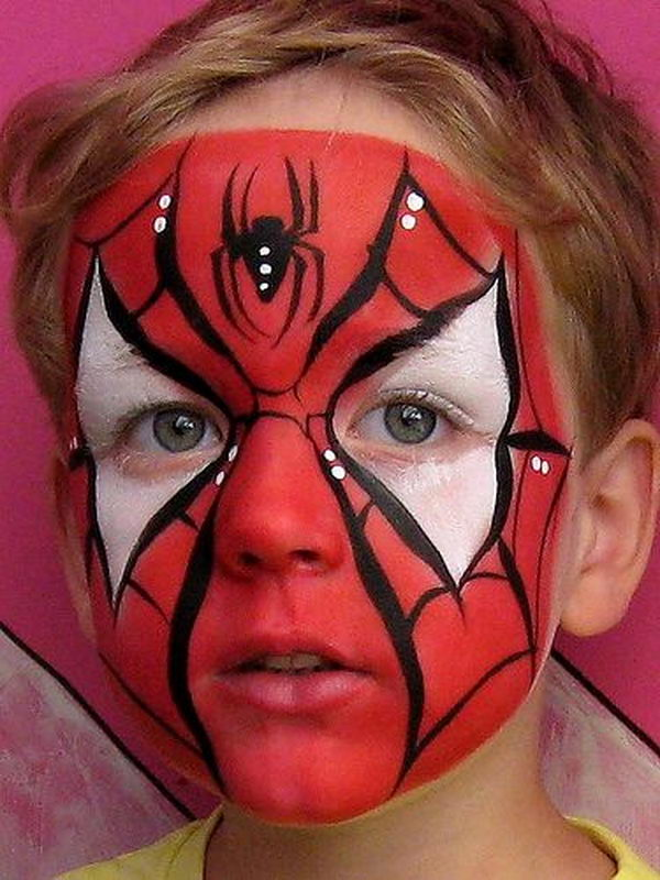 Spiderman. Cool Face Painting Ideas For Kids, which transform the faces of little ones without requiring professional-quality painting skills.