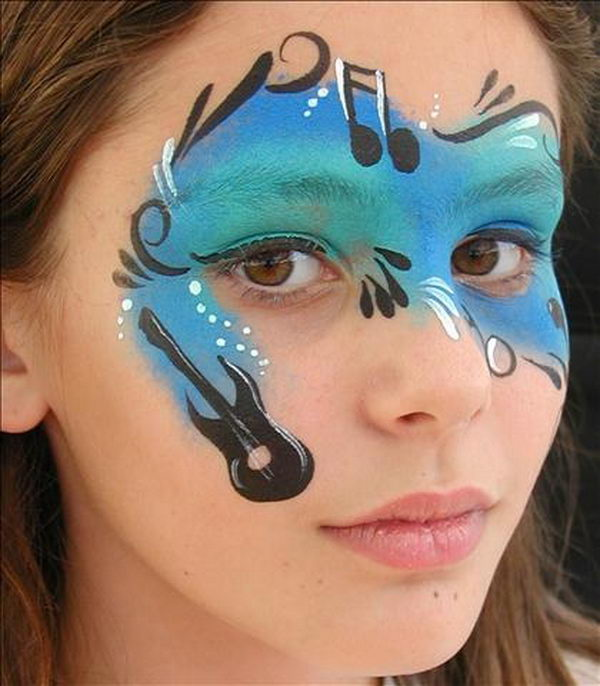 Music Face Painting. Cool Face Painting Ideas For Kids, which transform the faces of little ones without requiring professional-quality painting skills.
