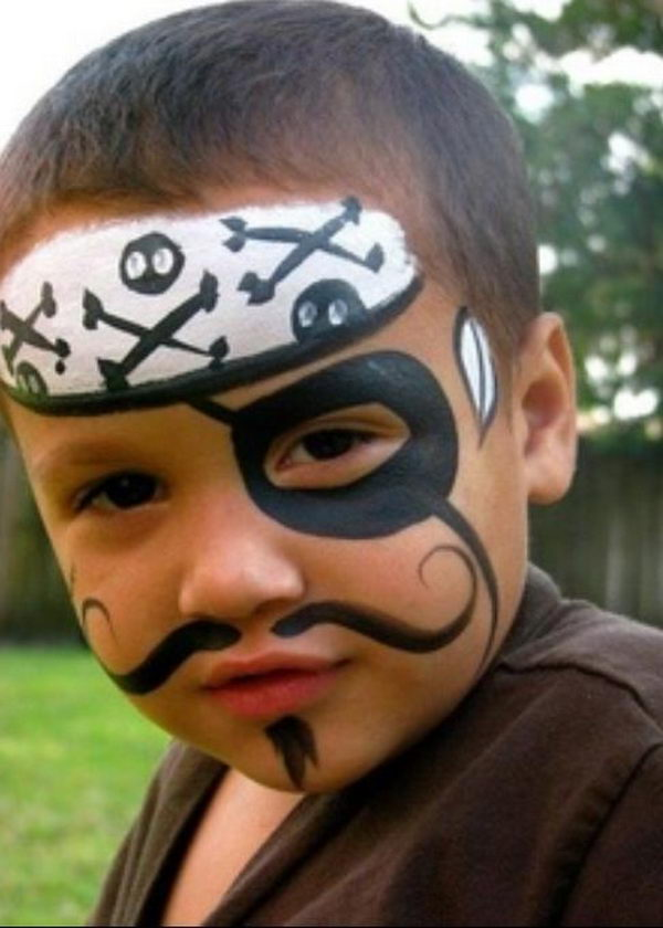 Pirate. Cool Face Painting Ideas For Kids, which transform the faces of little ones without requiring professional-quality painting skills.