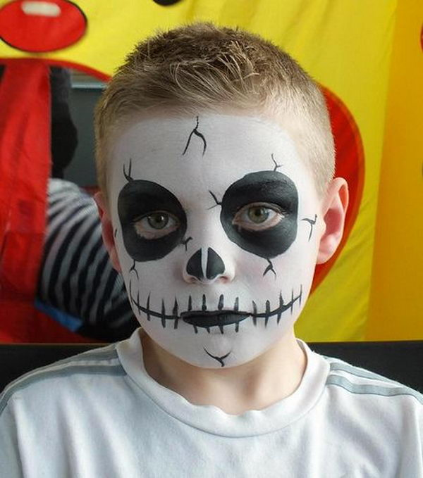 Skeleton Idea. Cool Face Painting Ideas For Kids, which transform the faces of little ones without requiring professional-quality painting skills.