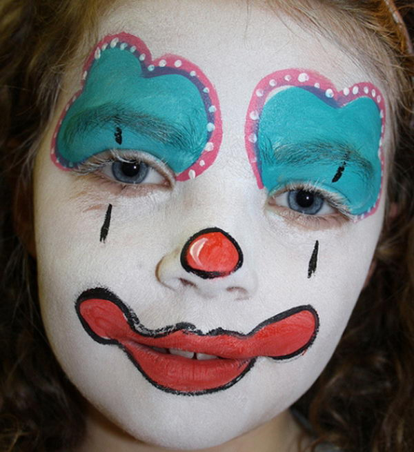 Girl Clown. Cool Face Painting Ideas For Kids, which transform the faces of little ones without requiring professional-quality painting skills.